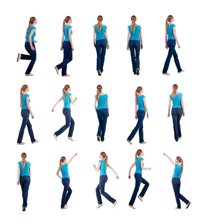 set  back view of walking and running  woman  in  jeans   beautiful blonde girl in motion   backside view of person   Rear view people collection  Isolated over white background  she rushes to meet someone photo