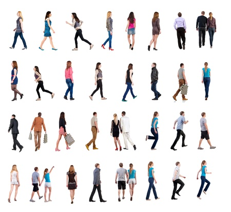 collection   back view of walking people    going people in motion set   backside view of person   Rear view people collection  Isolated over white background  people of different genders and in different clothes move photo