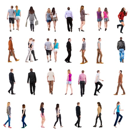 collection   back view of walking people    going people in motion set   backside view of person   Rear view people collection  Isolated over white background  people in pairs and alone move photo