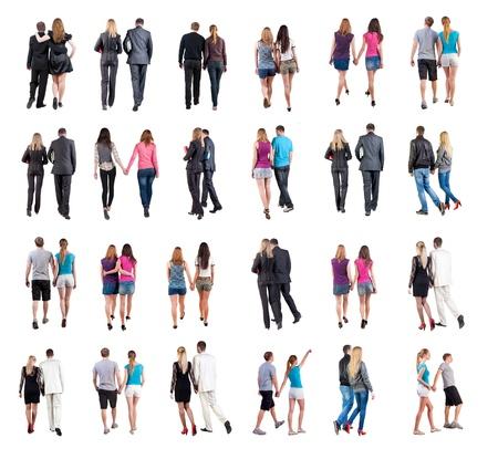 parejas caminando: Colecci�n Vista posterior de la marcha trasera joven pareja Vista gente colecci�n vista trasera de persona aislada sobre fondo blanco parejas j�venes vestidos de oficiales y de la calle se traslad� Foto de archivo