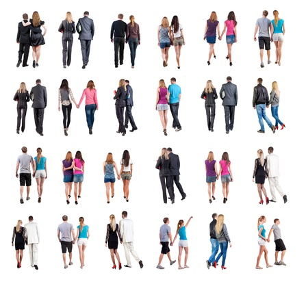 Collection  Back view of walking  young couple    Rear view people collection   backside view of person   Isolated over white background  young couples in official and street clothes moved