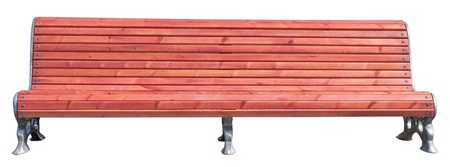 yellow park bench . Isolated over white background . Stock Photo - 19112369