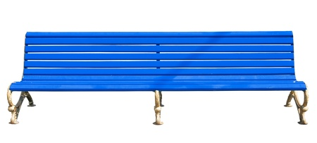 yellow park bench . Isolated over white background . Stock Photo - 19112350