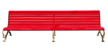 yellow park bench . Isolated over white background . Stock Photo - 19112349