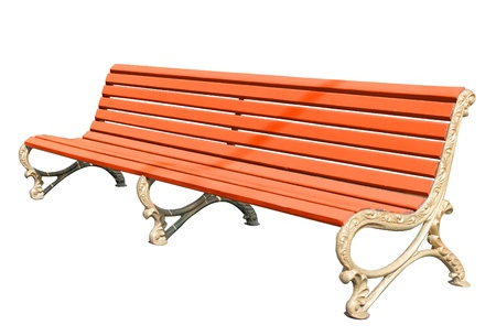 yellow park bench . Isolated over white background . Stock Photo - 19623632