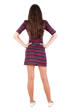 back view of standing young beautiful  brunette woman. teen girl in a striped dress looks forward placing hands on the belt. Rear view people collection.  backside view of person.  Isolated over white background.  photo