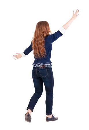 encounters: back view of walking  woman. beautiful redhead girl in motion.  backside view of person.  Rear view people collection. Isolated over white background. happy girl goes with the placed his hands open to embrace