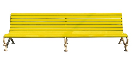yellow park bench . Isolated over white background . photo
