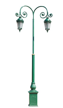 metal post: lamppost. Electric street light. Isolated on white background. green pole with two lamps on a square base. made in the old style. Stock Photo