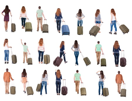 collection  Back view of  people with suitcase . backside view of person.  Rear view people collection. Isolated over white background. photo