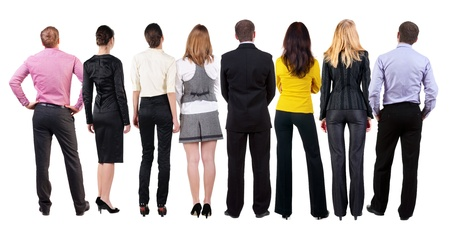 observers: Back view of  business team looks at wall   Teamwork business people looking at something  Rear view people collection   backside view of person   Isolated over white background