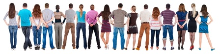 Back view group of people  looking. Rear view team people collection.  backside view of person.  Isolated over white background.