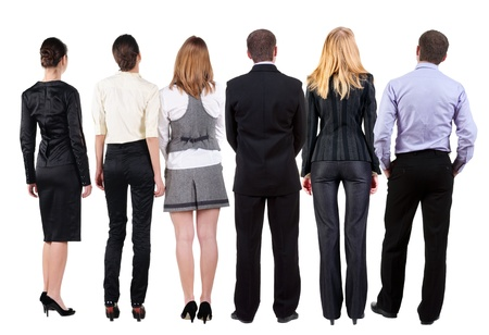 observers: Back view of  business team looks at wall.  Teamwork business people looking at something. Rear view people collection.  backside view of person.  Isolated over white background.