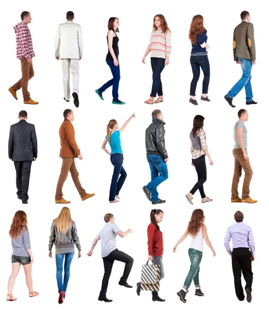 side pose: collection  back view of walking people . going people in motion set.  backside view of person.  Rear view people collection. Isolated over white background. Stock Photo