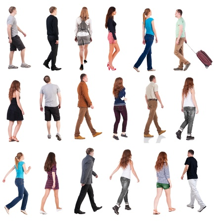 man rear view: collection  back view of walking people . going people in motion set.  backside view of person.  Rear view people collection. Isolated over white background. Stock Photo