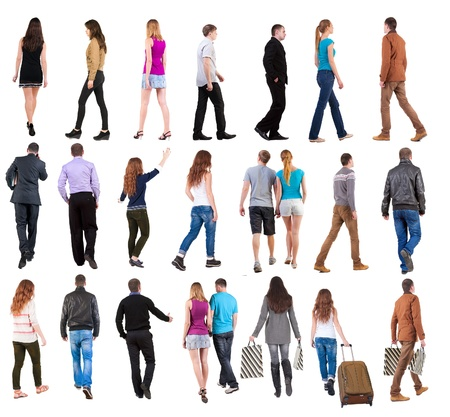 collection  back view of walking people . going people in motion set.  backside view of person.  Rear view people collection. Isolated over white background. Banco de Imagens