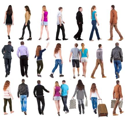"""Sammlung """"zur?ck zu gehen Menschen sehen"""". gehen die Menschen in Bewegung zu setzen. R?ckansicht der Person. R?ckansicht Menschen Kollektion. Isolierte ?ber wei?em Hintergrund. Standard-Bild - 20692766"""