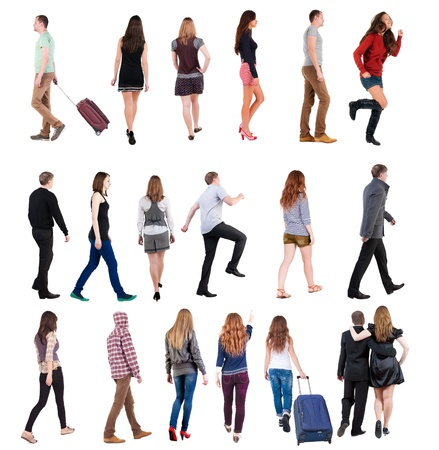 woman behind: collection  back view of walking people . going people in motion set.  backside view of person.  Rear view people collection. Isolated over white background. Stock Photo