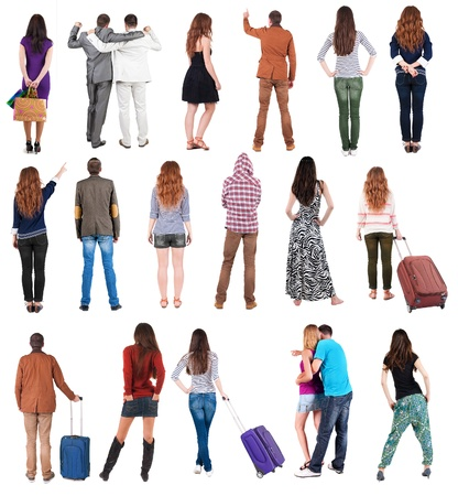 Collection  Back view people .  Rear view people set.  backside view of person.  Isolated over white background. Imagens