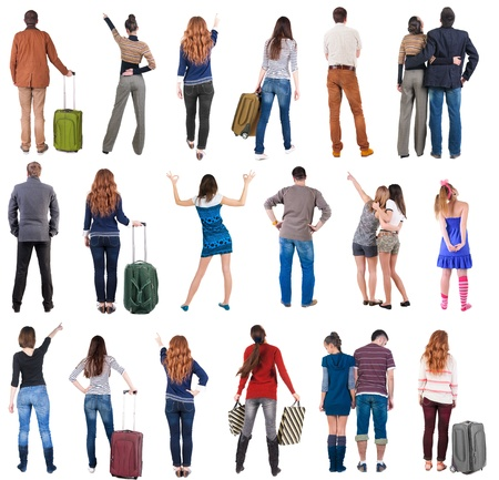 """personas de pie: Colecci�n """"Volver la vista la gente"""". Los retrovisores fijados. trasero vista de la persona. Aislado sobre fondo blanco."""