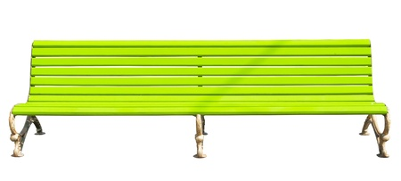 yellow park bench   Isolated over white background   photo