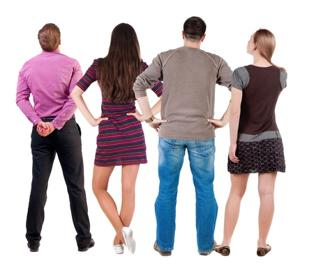 Back view group of people  looking. Rear view team people collection.  backside view of person.  Isolated over white background. photo