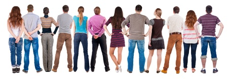 observers: Back view group of people  looking. Rear view team people collection.  backside view of person.  Isolated over white background.