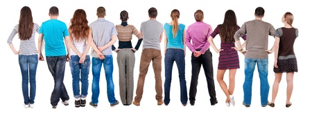 looking behind: Back view group of people  looking. Rear view team people collection.  backside view of person.  Isolated over white background.