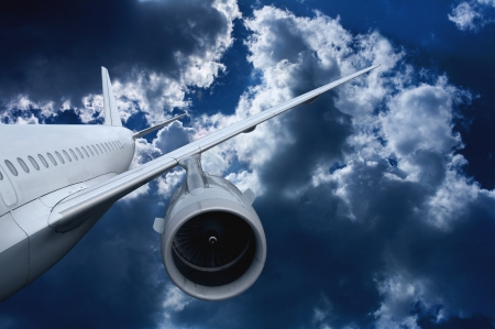 airplane flying down. against the sky.  landing or crash of airplane Stock Photo