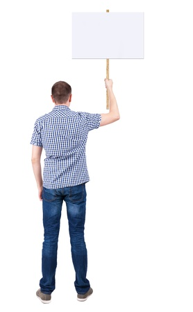 Back view  of man showing a sign board. young guy holds information plate. Rear view people collection.  backside view of person.  Isolated over white background.  photo