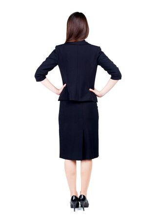 thoughtful woman: back view of thoughtful business woman contemplating. Young girl in suit.  Rear view people collection.  backside view of person.  Isolated over white background.