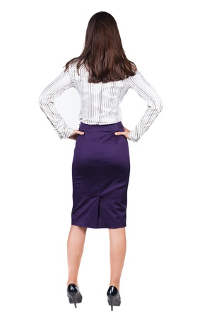 woman back: back view of thoughtful business woman contemplating. Young girl in suit.  Rear view people collection.  backside view of person.  Isolated over white background.