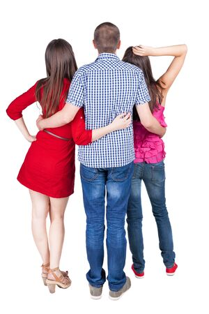 loe: Back view of three friends  (woman and man). looking into distance. Rear view people collection.  backside view of person.  Isolated over white background. Stock Photo