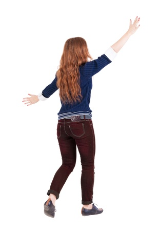 encounters: back view of walking  woman . beautiful redhead girl in motion.  backside view of person.  Rear view people collection. Isolated over white background. Girl goes to someone hugging
