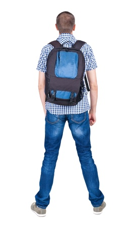 Back view of man with   backpack looking up. Rear view people collection.  backside view of person.  Isolated over white background.  photo