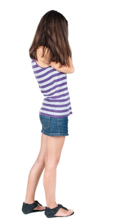 Back view of shocked woman in blue jeans dress. girl hid his eyes behind his hands.  Rear view people collection.  backside view of person.  Isolated over white background. photo