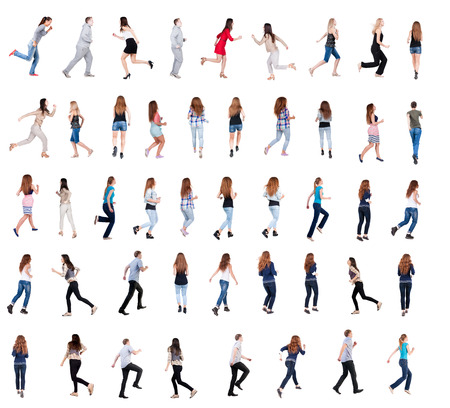 collection of isolated running and walking people in motion set. Stock Photo - 23041872
