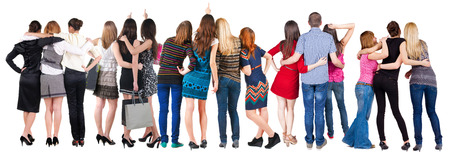 behind: Back view group of people  looking. Rear view team people collection.  backside view of person.  Isolated over white background.
