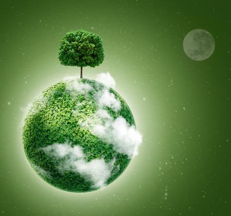 Green planet. Ecology concept. Green planet earth with a tree on  background of space . Go green.  photo