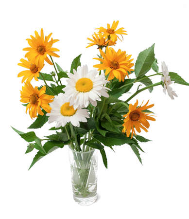 bouquet of wild flowers in a vase. isolated over white photo