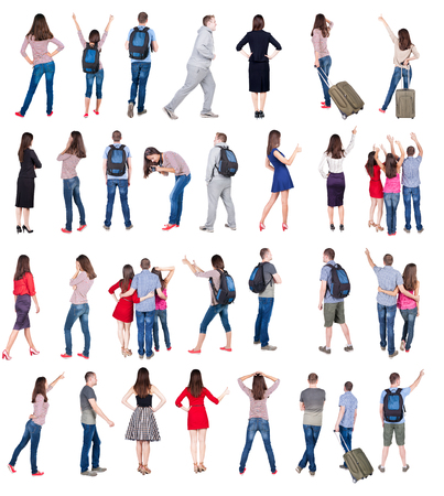 Rear view people collection. Isolated over white background.
