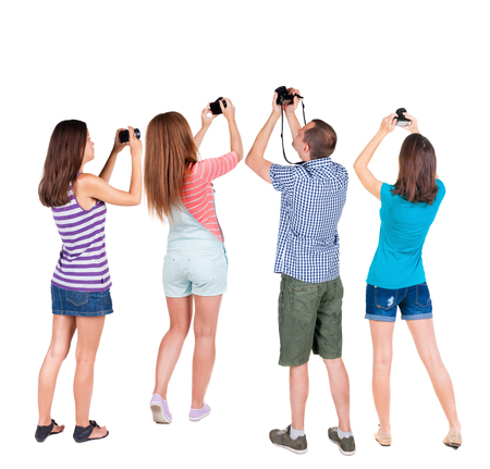 Rear view team people collection. Isolated over white background. Standard-Bild