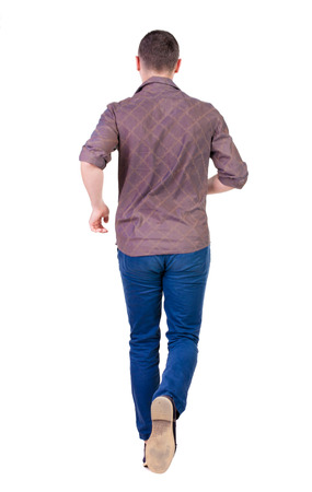 side by side: Back view of running man in brown shirt. Walking guy in motion. Rear view people collection. Backside view of person. Isolated over white background.