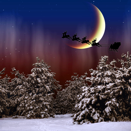 Santa Claus is flying in the Christmas night on the snow-covered forest photo