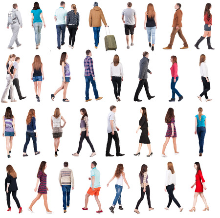 shot from behind: collection  back view of walking people . going people in motion set.  backside view of person.  Rear view people collection. Isolated over white background. Stock Photo