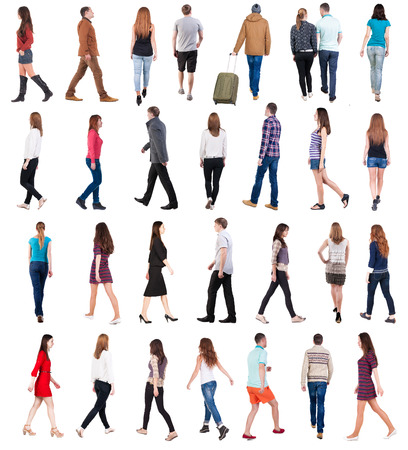 person walking: collection  back view of walking people . going people in motion set.  backside view of person.  Rear view people collection. Isolated over white background. Stock Photo