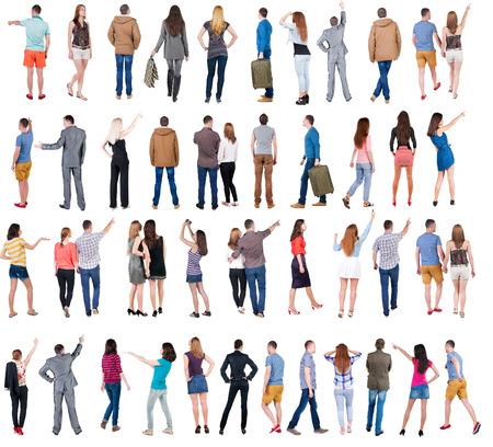 """chaqueta: Colecci�n """"Volver ver la gente"""". Vista trasera gente establecen. trasero vista de la persona. Aislado sobre fondo blanco."""