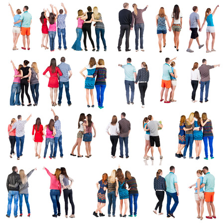 """personas: colección """"Vista posterior del grupo de personas"""". establece """"Vista posterior del equipo persona"""" Aislado en blanco."""