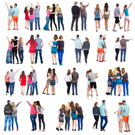 """zadek: kolekce """"Zadní pohled na skupiny lidí"""". nastavte """"Pohled zezadu člověk team"""" izolovaných na bílém. Reklamní fotografie"""