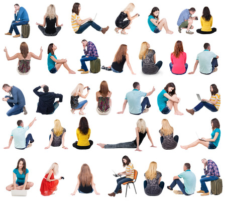 behind: Collection back view of sitting people.  .  backside view of person.  Rear view people set. Isolated over white background.